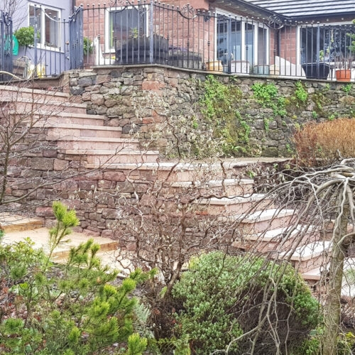 Stone steps and a floating seat- Ruston Spencer, Staffordshire Moorlands
